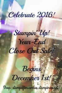 Stampin' Up! Year End Close Out, Shop stampaftersunrise.stampiup.net, While Supplies Last, Items up to 60% off, Holiday Retiring Items